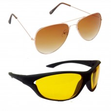 Aviator Brown Lens Gold Frame Sunglasses, Sports Yellow Lens Black Frame Sunglasses Minor Scratch - LOW-HCMB013