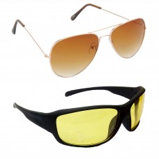 Aviator Brown Lens Gold Frame Sunglasses, Sports Yellow Lens Black Frame Sunglasses Minor Scratch - LOW-HCMB014