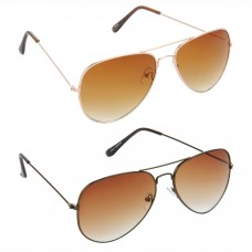 Aviator Brown Lens Gold Frame Sunglasses, Aviator Brown Lens Brown Frame Sunglasses Minor Scratch - LOW-HCMB015