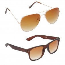 Aviator Brown Lens Gold Frame Sunglasses, Wayfarers Brown Lens Brown Frame Sunglasses Minor Scratch - LOW-HCMB017