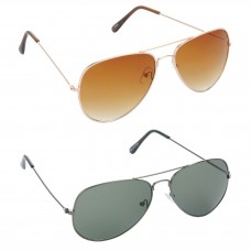 Aviator Brown Lens Gold Frame Sunglasses, Aviator Green Lens Grey Frame Sunglasses Minor Scratch - LOW-HCMB018