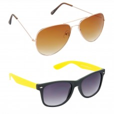 Aviator Brown Lens Gold Frame Sunglasses, Wayfarers Grey Lens Black Frame Sunglasses Minor Scratch - LOW-HCMB021