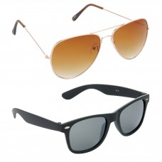 Aviator Brown Lens Gold Frame Sunglasses, Wayfarers Grey Lens Black Frame Sunglasses Minor Scratch - LOW-HCMB022