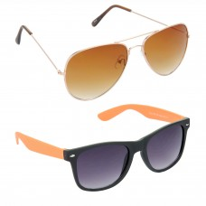 Aviator Brown Lens Gold Frame Sunglasses, Wayfarers Grey Lens Black Frame Sunglasses Minor Scratch - LOW-HCMB023
