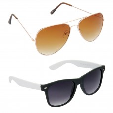 Aviator Brown Lens Gold Frame Sunglasses, Wayfarers Grey Lens Black Frame Sunglasses Minor Scratch - LOW-HCMB027