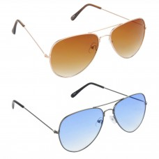 Aviator Brown Lens Gold Frame Sunglasses, Aviator Blue Lens Grey Frame Sunglasses Minor Scratch - LOW-HCMB029