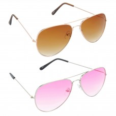 Aviator Brown Lens Gold Frame Sunglasses, Aviator Pink Lens Silver Frame Sunglasses Minor Scratch - LOW-HCMB031