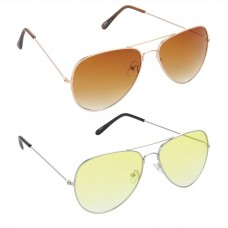 Aviator Brown Lens Gold Frame Sunglasses, Aviator Yellow Lens Silver Frame Sunglasses Minor Scratch - LOW-HCMB032
