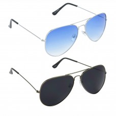 Aviator Blue Lens Silver Frame Sunglasses, Aviator Black Lens Grey Frame Sunglasses Minor Scratch - LOW-HCMB033