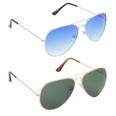 Aviator Blue Lens Silver Frame Sunglasses, Aviator Green Lens Gold Frame Sunglasses Minor Scratch - LOW-HCMB034