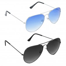 Aviator Blue Lens Silver Frame Sunglasses, Aviator Grey Lens Grey Frame Sunglasses Minor Scratch - LOW-HCMB035