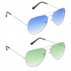 Aviator Blue Lens Silver Frame Sunglasses, Aviator Green Lens Silver Frame Sunglasses Minor Scratch - LOW-HCMB036