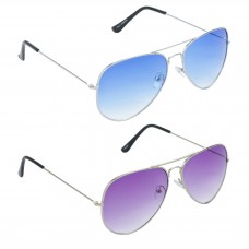 Metal Frame Blue Lens Silver Frame Sunglasses, Metal Frame Purple Lens Silver Frame Sunglasses - LOW-HCMB037