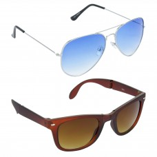 Aviator Blue Lens Silver Frame Sunglasses, Wayfarers Brown Lens Brown Frame Sunglasses Minor Scratch - LOW-HCMB038