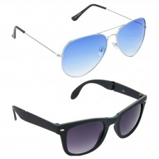 Metal Frame Blue Lens Silver Frame Sunglasses, Plastic Frame Grey Lens Black Frame Sunglasses - LOW-HCMB039