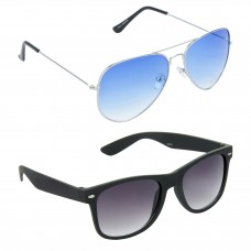 Metal Frame Blue Lens Silver Frame Sunglasses, Plastic Frame Grey Lens Black Frame Sunglasses - LOW-HCMB040
