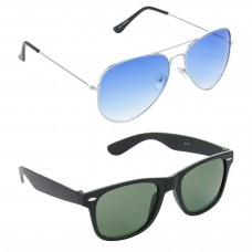 Aviator Blue Lens Silver Frame Sunglasses, Wayfarers Green Lens Black Frame Sunglasses Minor Scratch - LOW-HCMB041