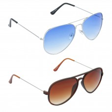 Aviator Blue Lens Silver Frame Sunglasses, Aviator Brown Lens Brown Frame Sunglasses Minor Scratch - LOW-HCMB042