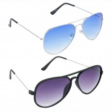 HRINKAR Aviator Blue Lens Silver Frame Sunglasses, Aviator Grey Lens Black Frame Sunglasses - HCMB043