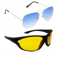 HRINKAR Aviator Blue Lens Silver Frame Sunglasses, Sports Yellow Lens Black Frame Sunglasses - HCMB044