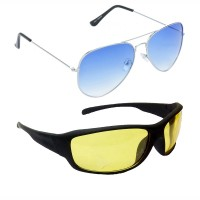 HRINKAR Aviator Blue Lens Silver Frame Sunglasses, Sports Yellow Lens Black Frame Sunglasses - HCMB045