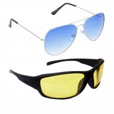 HRINKAR Metal Frame Blue Lens Silver Frame Sunglasses, Sports Yellow Lens Black Frame Sunglasses - HCMB045