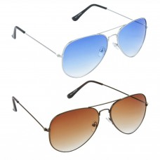 Aviator Blue Lens Silver Frame Sunglasses, Aviator Brown Lens Brown Frame Sunglasses Minor Scratch - LOW-HCMB046