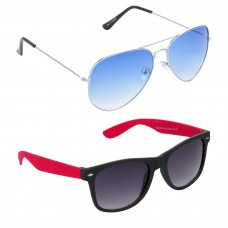 Metal Frame Blue Lens Silver Frame Sunglasses, Plastic Frame Grey Lens Black Frame Sunglasses - LOW-HCMB047