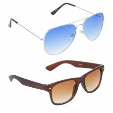 Aviator Blue Lens Silver Frame Sunglasses, Wayfarers Brown Lens Brown Frame Sunglasses Minor Scratch - LOW-HCMB048