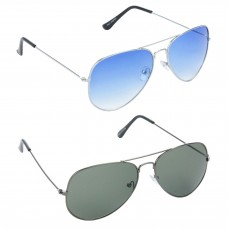 Aviator Blue Lens Silver Frame Sunglasses, Aviator Green Lens Grey Frame Sunglasses Minor Scratch - LOW-HCMB049