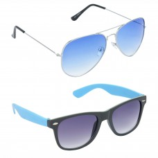 Metal Frame Blue Lens Silver Frame Sunglasses, Plastic Frame Grey Lens Black Frame Sunglasses - LOW-HCMB050