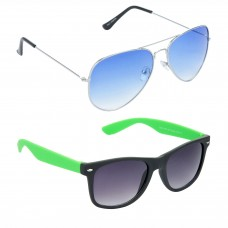 Metal Frame Blue Lens Silver Frame Sunglasses, Plastic Frame Grey Lens Black Frame Sunglasses - LOW-HCMB051