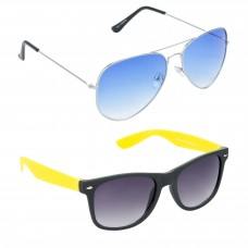 Metal Frame Blue Lens Silver Frame Sunglasses, Plastic Frame Grey Lens Black Frame Sunglasses - LOW-HCMB052