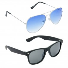 Metal Frame Blue Lens Silver Frame Sunglasses, Plastic Frame Grey Lens Black Frame Sunglasses - LOW-HCMB053