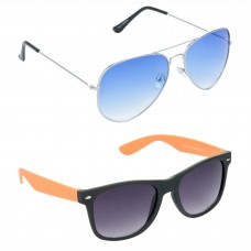 Metal Frame Blue Lens Silver Frame Sunglasses, Plastic Frame Grey Lens Black Frame Sunglasses - LOW-HCMB054