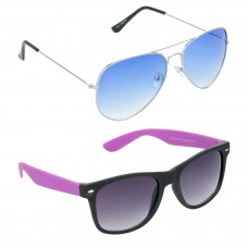 Metal Frame Blue Lens Silver Frame Sunglasses, Plastic Frame Grey Lens Black Frame Sunglasses - LOW-HCMB055