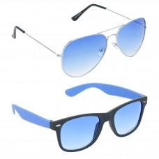 Aviator Blue Lens Silver Frame Sunglasses, Wayfarers Grey Lens Black Frame Sunglasses Minor Scratch - LOW-HCMB056
