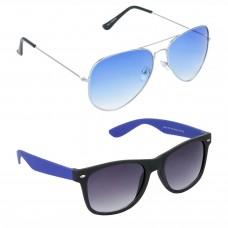 Aviator Blue Lens Silver Frame Sunglasses, Wayfarers Grey Lens Black Frame Sunglasses Minor Scratch - LOW-HCMB057
