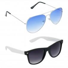 HRINKAR Aviator Blue Lens Silver Frame Sunglasses, Wayfarers Grey Lens Black Frame Sunglasses - HCMB058