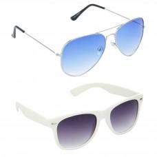 HRINKAR Aviator Blue Lens Silver Frame Sunglasses, Wayfarers Grey Lens Black Frame Sunglasses - HCMB059