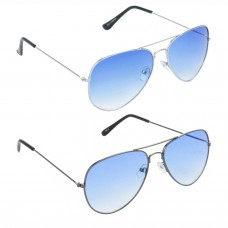 Aviator Blue Lens Silver Frame Sunglasses, Aviator Blue Lens Grey Frame Sunglasses Minor Scratch - LOW-HCMB060