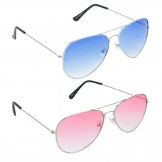 Metal Frame Blue Lens Silver Frame Sunglasses, Metal Frame Red Lens Silver Frame Sunglasses - LOW-HCMB061
