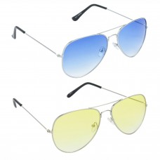 Metal Frame Blue Lens Silver Frame Sunglasses, Metal Frame Yellow Lens Silver Frame Sunglasses - LOW-HCMB063