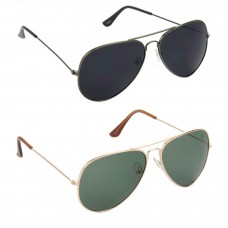 HRINKAR Aviator Black Lens Grey Frame Sunglasses, Aviator Green Lens Gold Frame Sunglasses - HCMB064