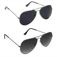 HRINKAR Aviator Black Lens Grey Frame Sunglasses, Aviator Grey Lens Grey Frame Sunglasses - HCMB065