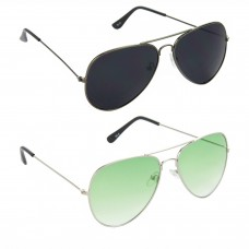 HRINKAR Aviator Black Lens Grey Frame Sunglasses, Aviator Green Lens Silver Frame Sunglasses - HCMB066