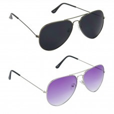 HRINKAR Aviator Black Lens Grey Frame Sunglasses, Aviator Purple Lens Silver Frame Sunglasses - HCMB067