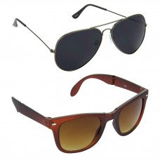 HRINKAR Aviator Black Lens Grey Frame Sunglasses, Wayfarers Brown Lens Brown Frame Sunglasses - HCMB068
