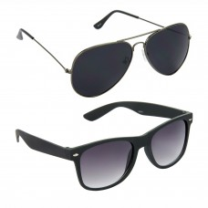 HRINKAR Aviator Black Lens Grey Frame Sunglasses, Wayfarers Grey Lens Black Frame Sunglasses - HCMB070