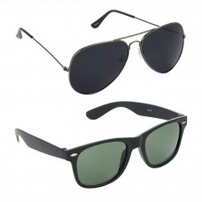 HRINKAR Aviator Black Lens Grey Frame Sunglasses, Wayfarers Green Lens Black Frame Sunglasses - HCMB071